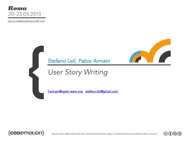 User story writing by Stefano Leli, Fabio Armani