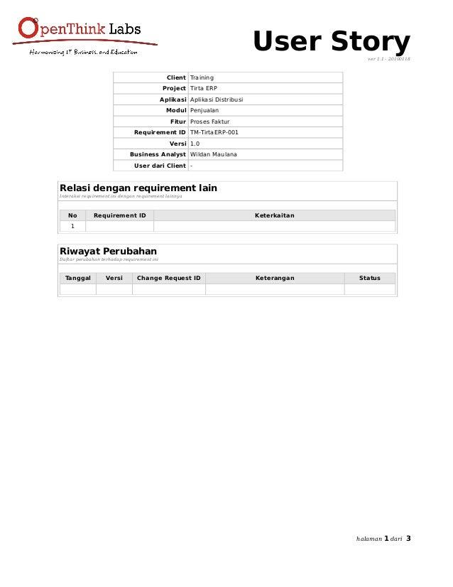 User Storyver 1.1 - 20100118 Client Training Project Tirta ERP Aplikasi Aplikasi Distribusi Modul Penjualan Fitur Proses F...
