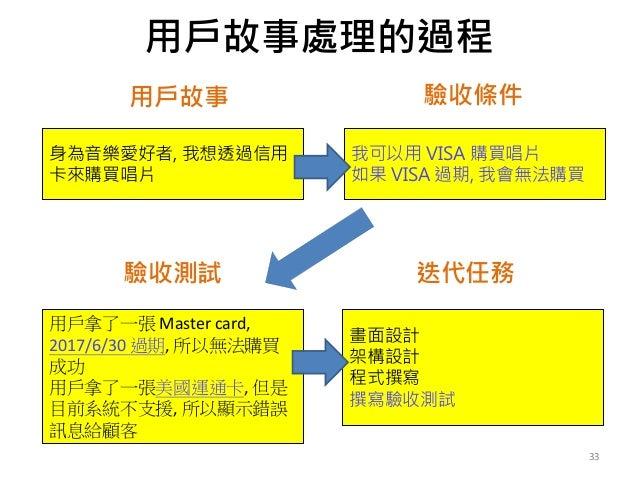 用戶故事處理的過程 33 身為音樂愛好者, 我想透過信用 卡來購買唱片 我可以用 VISA 購買唱片 如果 VISA 過期, 我會無法購買 用戶拿了一張 Mastercard, 2017/6/30過期,所以無法購買 成功 用戶拿了一張美...