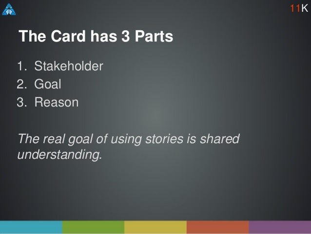 The Card has 3 Parts 1. Stakeholder 2. Goal 3. Reason The real goal of using stories is shared understanding. 11K