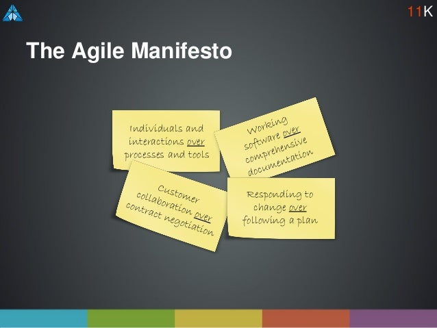 The Agile Manifesto Individuals and interactions over processes and tools Responding to change over following a plan 11K
