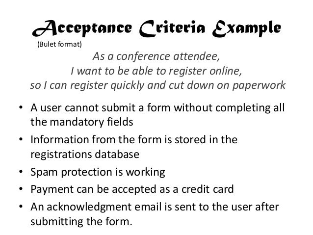 User story splitting for Agile acceptance criteria template