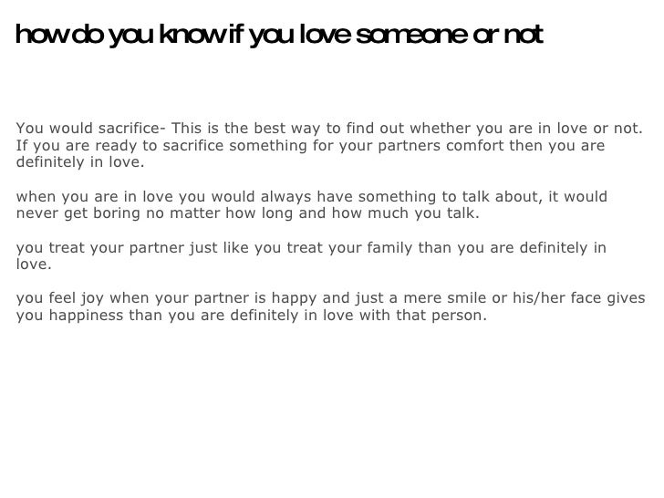 How To Know You Love Someone