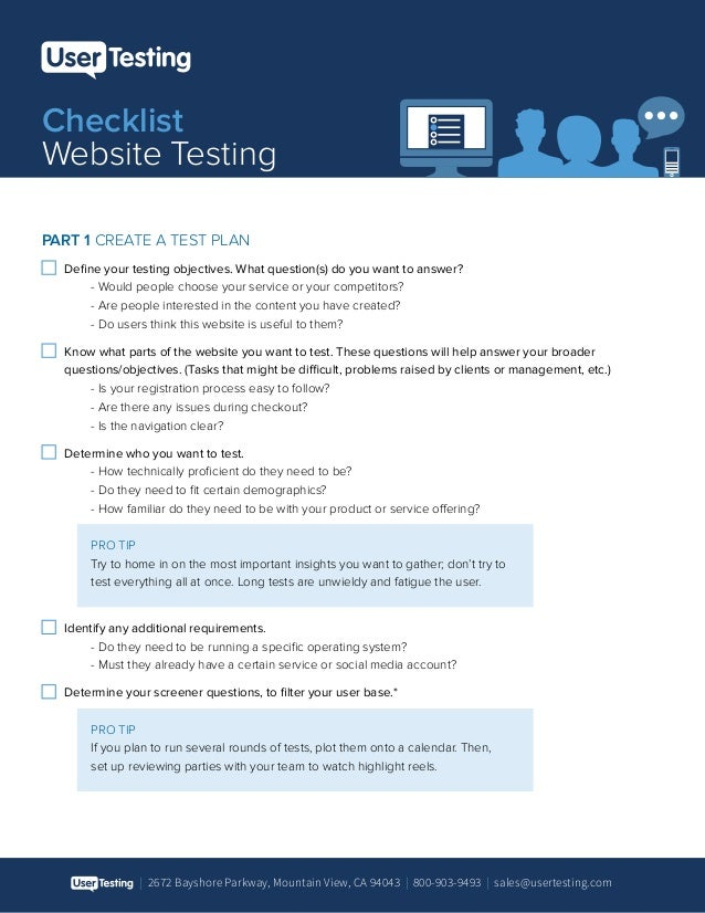 | 2672 Bayshore Parkway, Mountain View, CA 94043 | 800-903-9493 | sales@usertesting.com Checklist Website Testing PART 1 C...