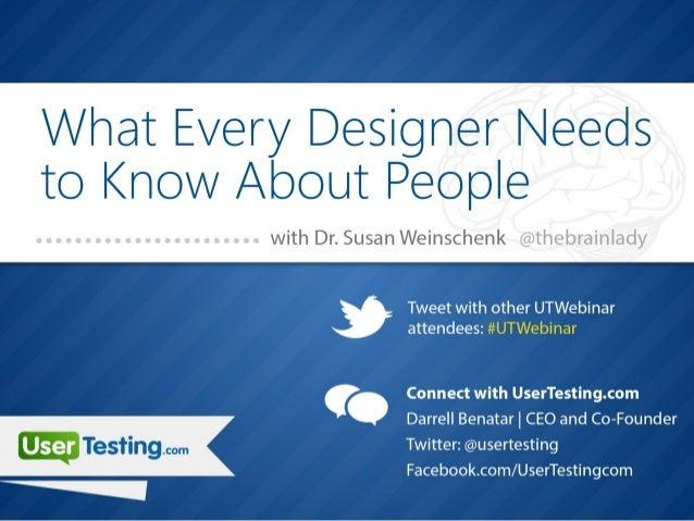 @thebrainlady                            susan@theteamw.com                             www.theteamw.comSusan Weinschenk, ...