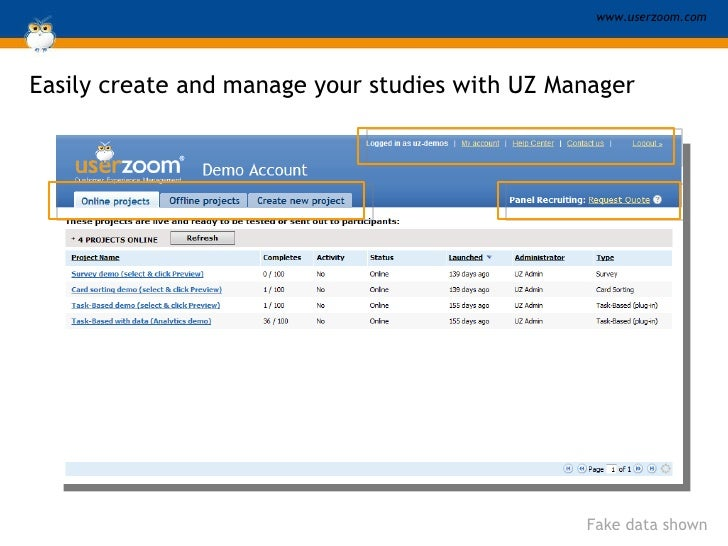 Easily create and manage your studies with UZ Manager Fake data shown