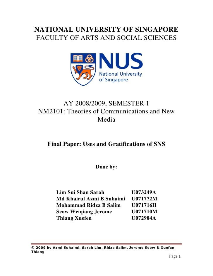 NATIONAL UNIVERSITY OF SINGAPORE  FACULTY OF ARTS AND SOCIAL SCIENCES              AY 2008/2009, SEMESTER 1    NM2101: The...