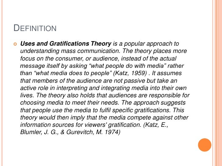 Uses and Gratifications Theory Slide 2