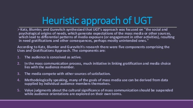 According to the research, goals for media use can be grouped into five uses.[5] The audience wants to: 1. Be Informed Or ...