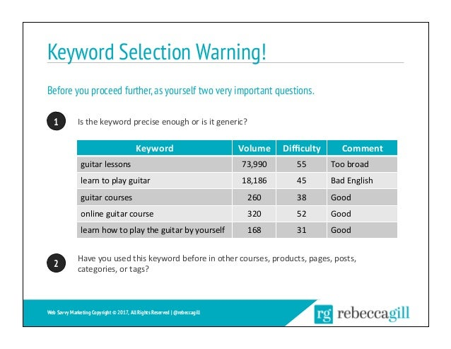Keyword Selection Warning! Before you proceed further,as yourself two very important questions. 10 Isthekeywordprecise...