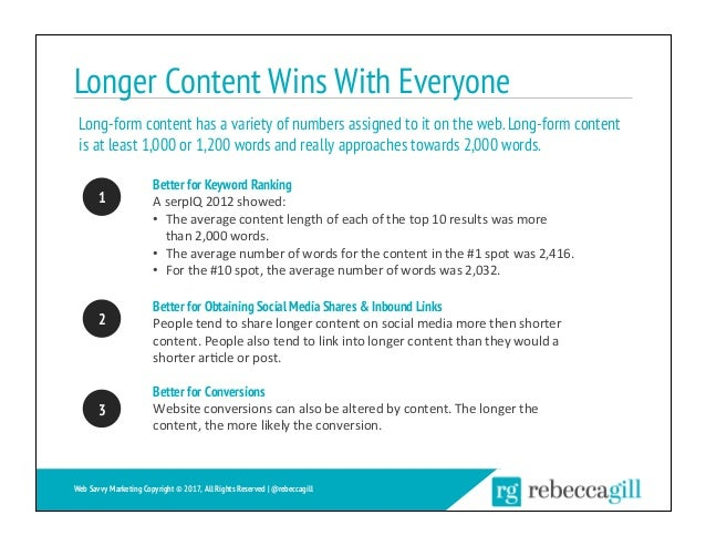 Longer Content Wins With Everyone Better for Keyword Ranking AserpIQ2012showed: • Theaveragecontentlengthofeach...