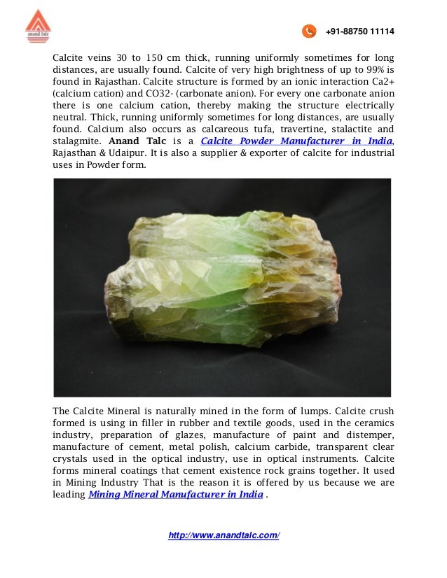 Uses of Calcite for Various Industries offered by Best