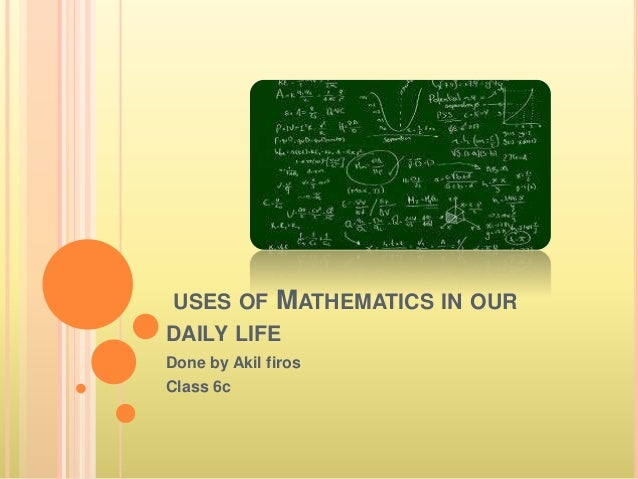 application of mathematics in daily life pdf