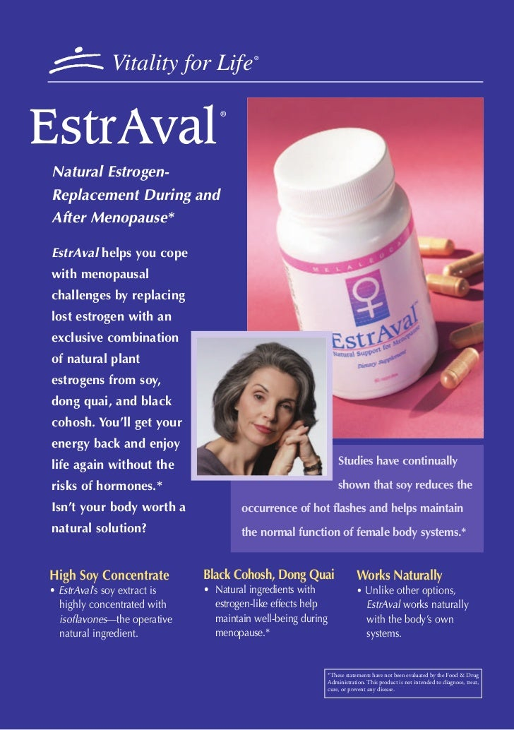 Vitality for Life           ®EstrAval                                 ®Natural Estrogen-Replacement During andAfter Menopa...