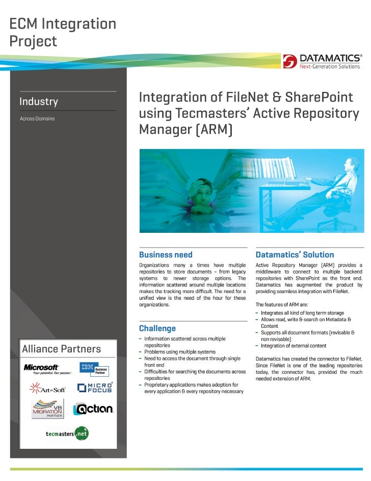 Integration of FileNet & SharePoint using Tecmasters' Active Repository Manager [ARM]