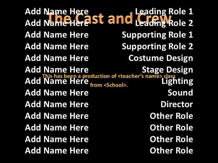 use the rolling credits slide template to end a group presentation p