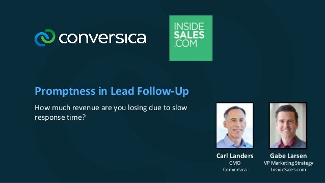 Promptness in Lead Follow-Up How much revenue are you losing due to slow response time? Gabe Larsen VP Marketing Strategy ...