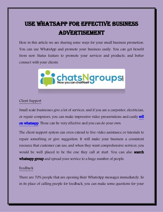 Use Whatsapp For Effective Business Advertisement