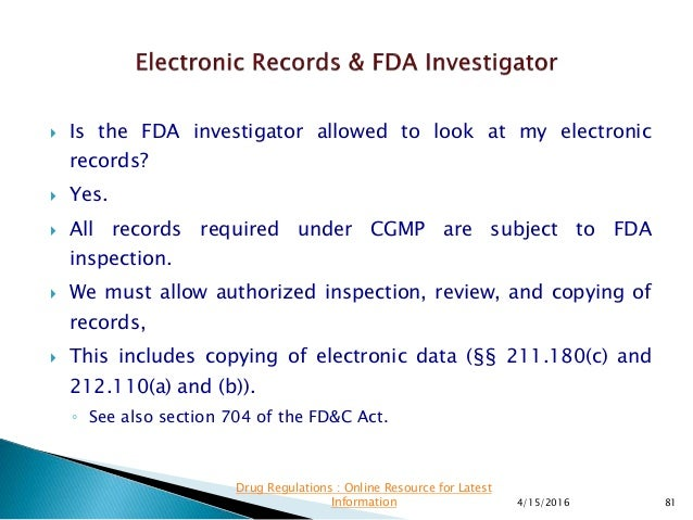 Presentation on US FDA Data Integrity Guidance.