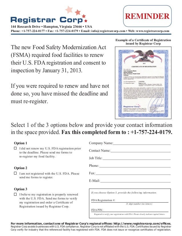 US FDA Food Facility Re-Registration