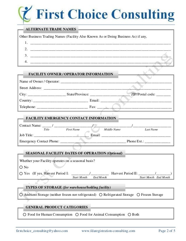 US FDA Food Facility Registration Form_First Choice Consulting Servic…