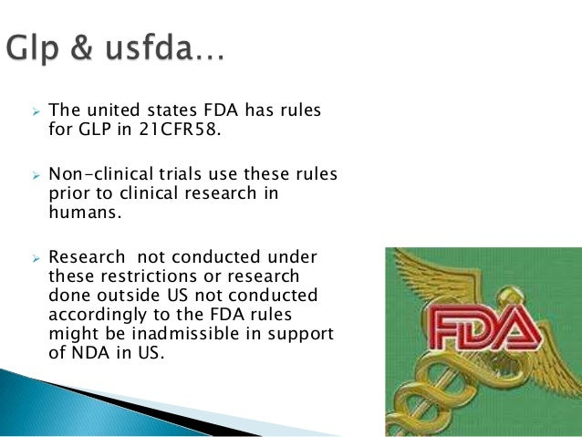 us fda guidelines for glp in non clinical testing laboratories