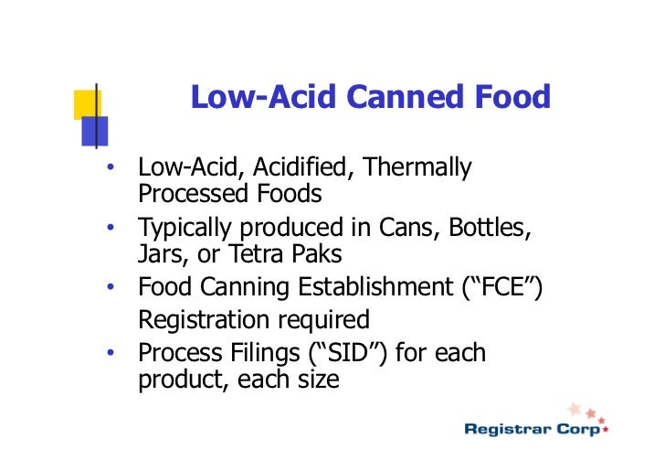 Cfr For Low Acid Canned Food