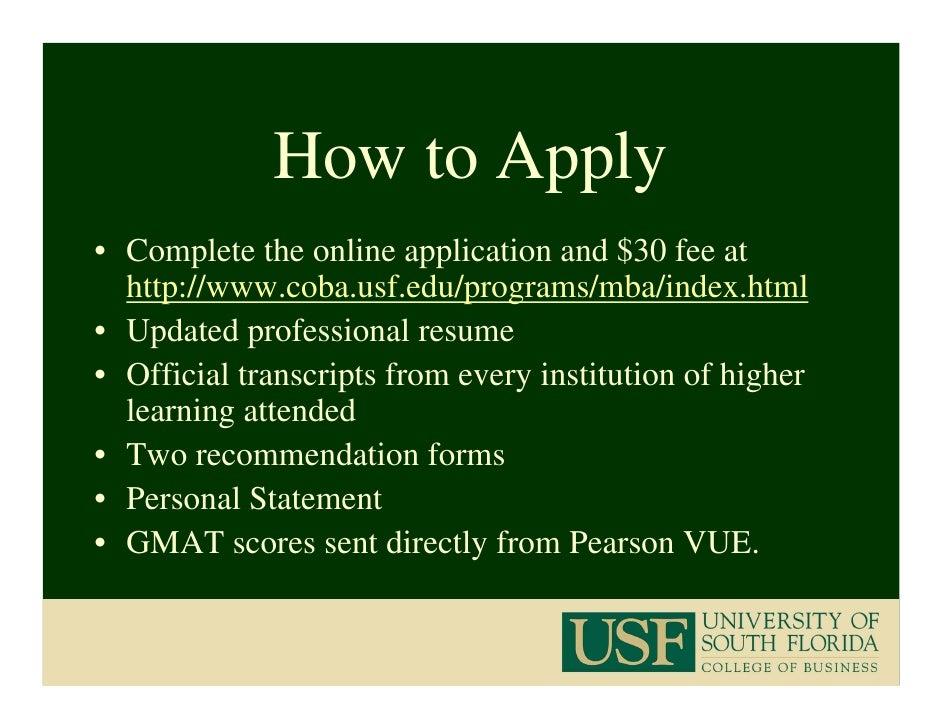 USF MBA Program 2009 2010