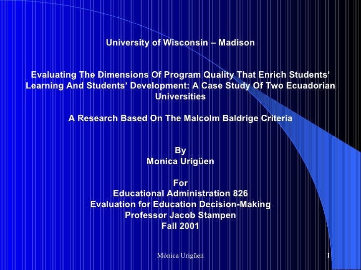 University of Wisconsin – Madison   Evaluating The Dimensions Of Program Quality That Enrich Students' Learning An...