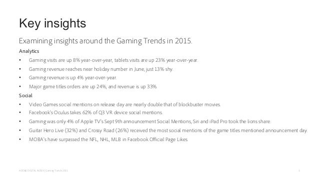 Examining insights around the Gaming Trends in 2015. Analytics • Gaming visits are up 8% year-over-year, tablets visits ar...