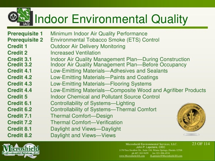 Usgbc leed and indoor air quality john p lapotaire ciec for Indoor air quality design