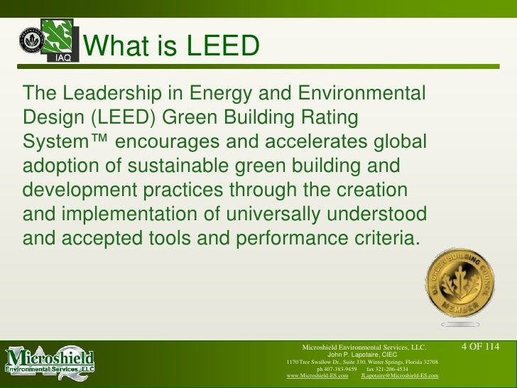 Usgbc leed and indoor air quality john p lapotaire ciec for What is leed