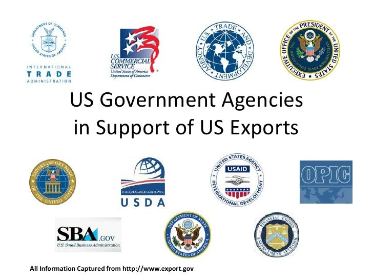 US Government Agencies in Support of US Exports All Information Captured from http://www.export.gov