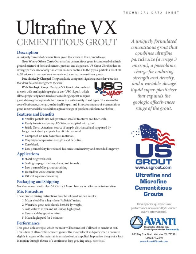 US Grout Ultrafine Cementitious Grout Type VX— Data Sheet