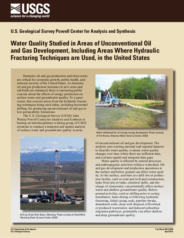 U.S. Geological Survey Powell Center for Analysis and Synthesis  Water Quality Studied in Areas of Unconventional Oil and ...