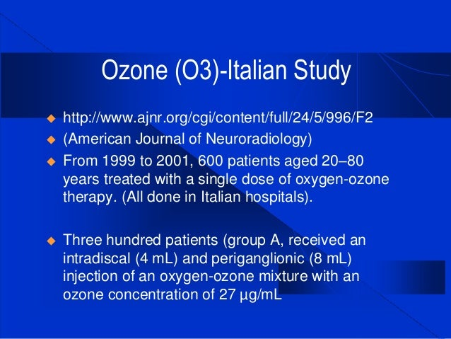 Intradiscal Ozone For The Treatment Of Sensitized
