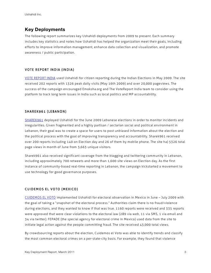Ushahidi Key Deployment Report (Q1 2011) Slide 3
