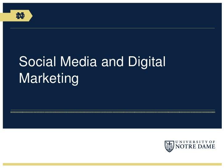 Social Media and Digital Marketing<br />