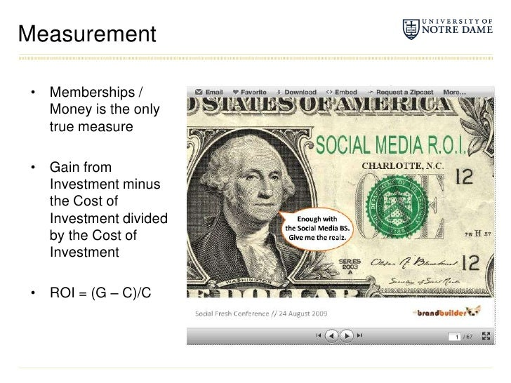 Measurement<br />Memberships / Money is the only true measure<br />Gain from Investment minus the Cost of Investment divid...