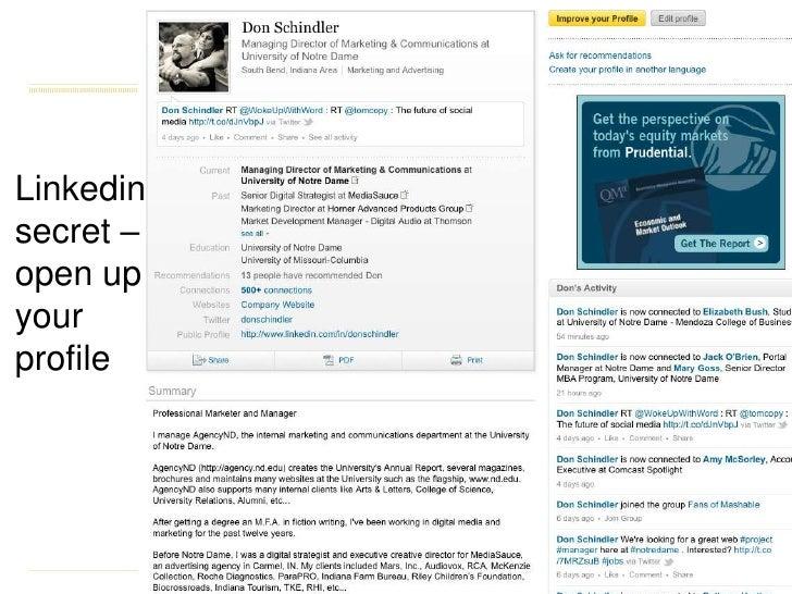 Linkedin secret – open up your profile<br />