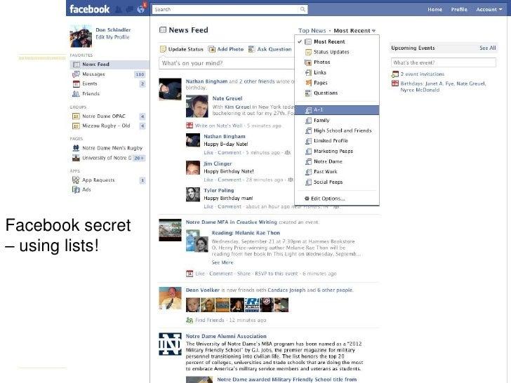 Facebook secret– using lists!<br />