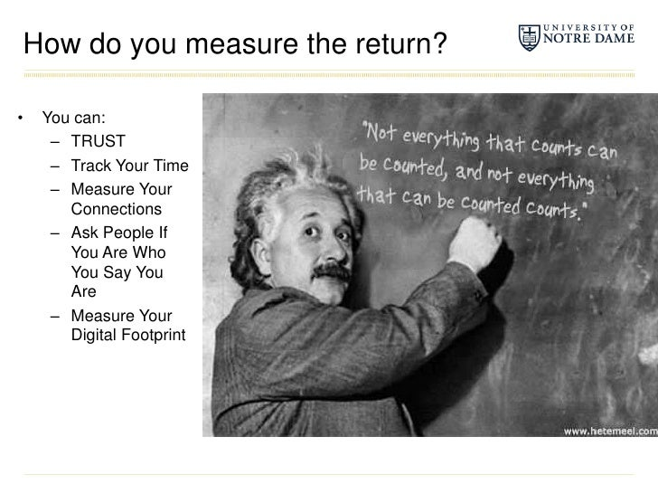 How do you measure the return?<br />You can:<br />TRUST<br />Track Your Time<br />Measure Your Connections<br />Ask People...