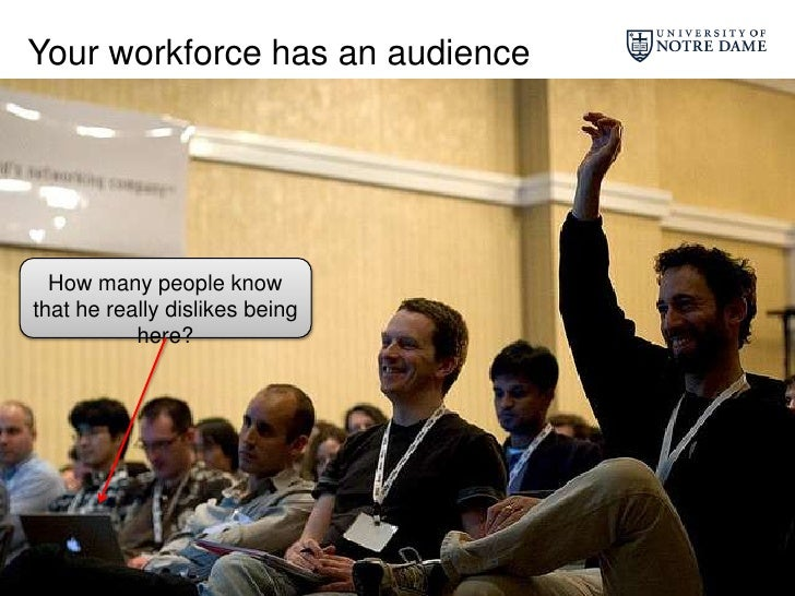 Your workforce has an audience<br />How many people know that he really dislikes being here?<br />