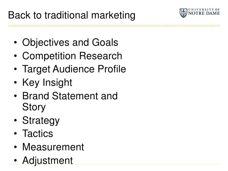 Back to traditional marketing<br />Objectives and Goals<br />Competition Research<br />Target Audience Profile<br />Key In...