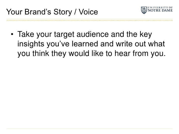 Your Brand's Story / Voice<br />Take your target audience and the key insights you've learned and write out what you think...