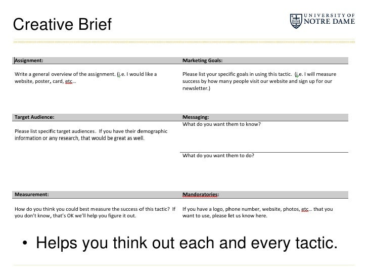 Creative Brief<br />Helps you think out each and every tactic.<br />