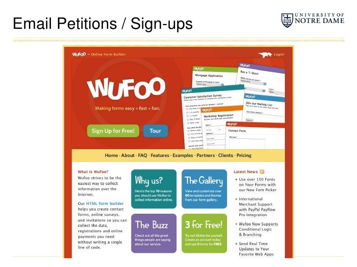 Email Petitions / Sign-ups<br />