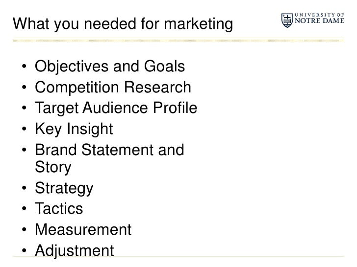 What you needed for marketing<br />Objectives and Goals<br />Competition Research<br />Target Audience Profile<br />Key In...