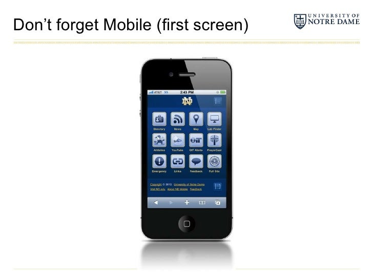 Don't forget Mobile (first screen)<br />