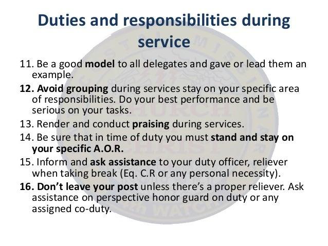 duties and responsibilities duties of a church usher